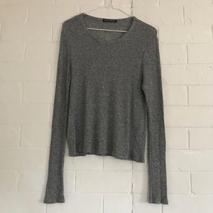 BRANDY MELVILLE | Gray Ribbed Knit Long Sleeve OS